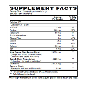 Plant Protein Vanilla Fact Sheet